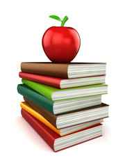 3d render of stack of books with apple on top