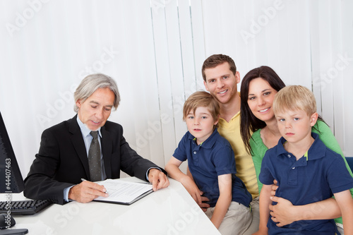Family at business advisor office
