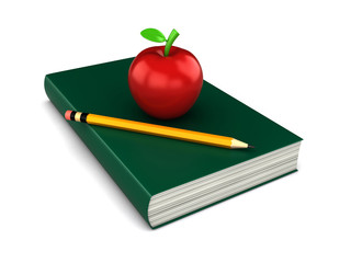 3d render of a thick red book with apple and a pencil on top