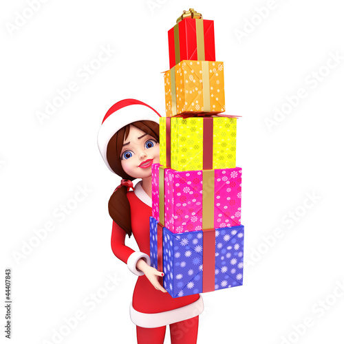 3d art illustration of santa girl with gifts