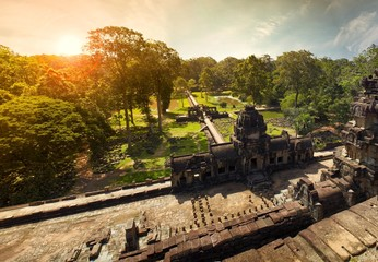 View from top on sunrise in Angkor