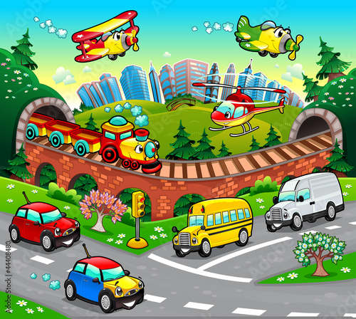 In de dag Vliegtuigen, ballon Funny vehicles in the city. Cartoon and vector illustration.