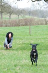 Frau lässt ihren hund rennen