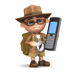 3d Adventurer with his mobile phone