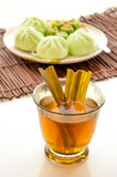 Cup of tea with steamed dumplings