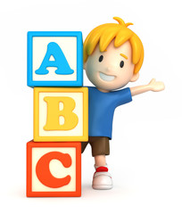 3d render of a boy and building blocks with ABC