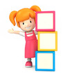3d render of a girl and blank building blocks