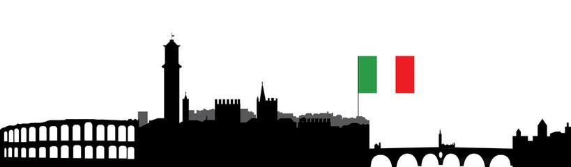 verona skyline with flag