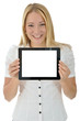 Junge Frau mit Tablet-PC, leeres Display