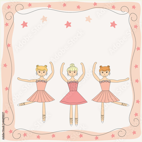 illustration of three dancing cute ballerinas