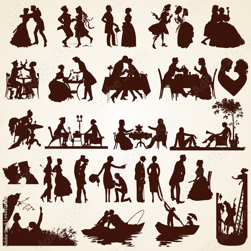 Couple silhouettes people, celebration, date