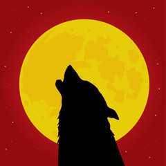Werewolf howls in front of the Moon vector