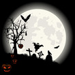 Halloween background on full Moon and cemetery