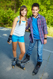 Couple of roller skaters