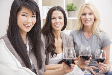 Interracial Group Three Women Friends Drinking Wine