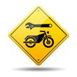 Señal amarilla reparacion de motos