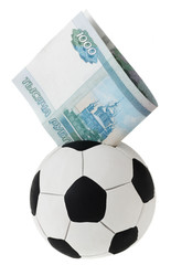 Thousand rubles going into football money box