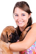 young woman with bullmastiff