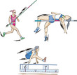 Pole vault, High jump and Long jump