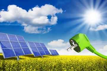 Solarkraftwerk mit Stromstecker auf Rapsfeld