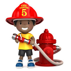 3d render of a little firefighter
