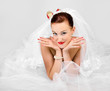 Portrait of funny beautiful bride