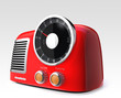 red retro radio on gray background