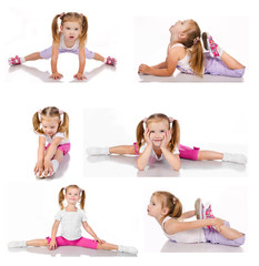 Collection of gymnast cute little girl isolated
