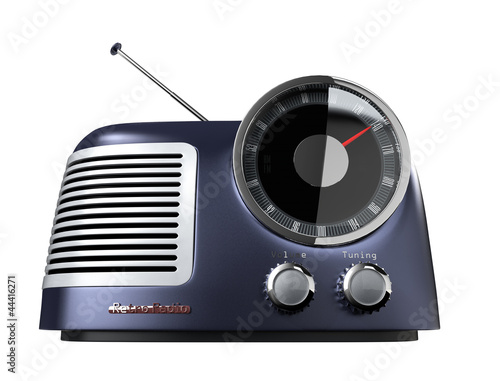 blue metallic retro radio(front view)