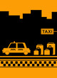 taxi stop with urban landscape, road, car, bag and cab badge