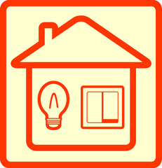 yellow icon symbol lighting with bulb and switch