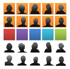 Set di icone colorate con silhouette di persone