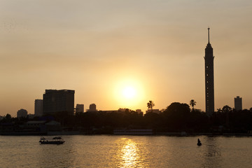 Cairo skyline at sunset