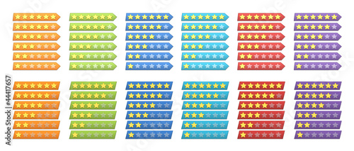 A complete set of colorful rating stars for web