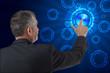 business man pushing virtual digital data