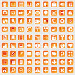 81 Web Icon Internet Business Button Set - rot orange - schatten
