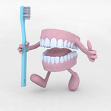 open denture cartoon with arms, legs and tootbrush - 44419498