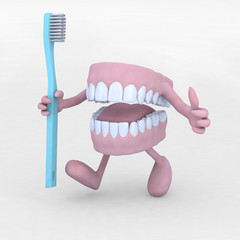 open denture cartoon with arms, legs and tootbrush