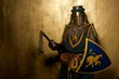 Medieval knight on golden background