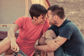 Young Couple Flirting on Camping