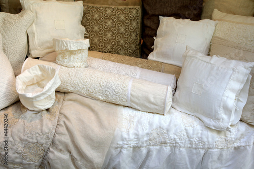 Hand-made Vintage Linen Pillow Cases with Cotton Crochet lace, - 44420246