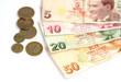 Turkish lira banknotes and coins