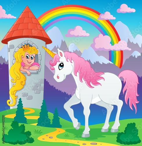 Tuinposter Pony Fairy tale unicorn theme image 3