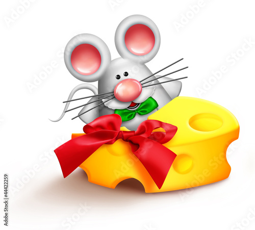 Whimsical Cartoon Santa Mouse Eating Cheese