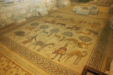 Anicient Mosaics work at Moses Memorial Church Mount Nebo Jordan
