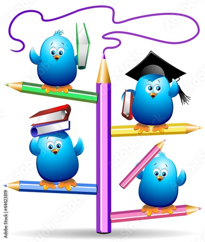 Blue Chicks Birds Back to School-Pulcini Uccellini Blu a Scuola