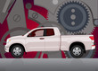 Pick-up truck with background of cogwheels