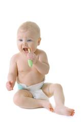 Little baby girl with teething brush