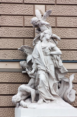 The sculpture on the building of the Opera,Odessa, Ukraine
