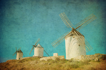 Vintage image of windmills in Consuegra, Spain.